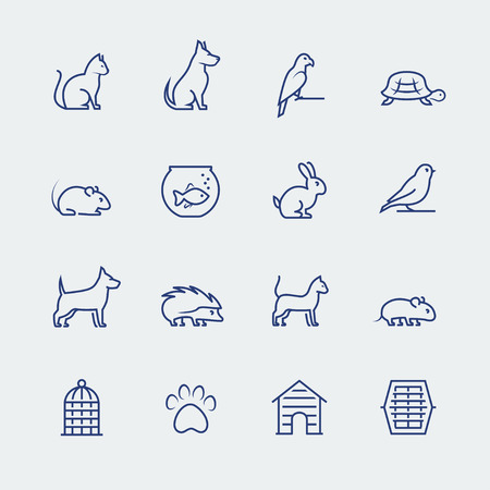 Pets related icon set in thin line style Çizim