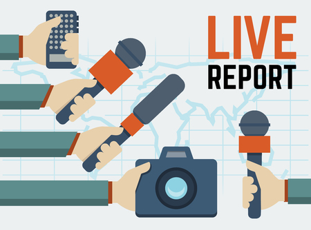 social network service: Vector live report, live news concept, hands of journalists with microphones, tape recorder and photo camera Illustration
