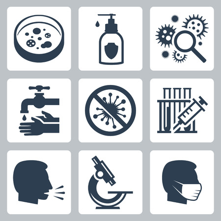 Infectie, virus gerelateerde vector icon set Stock Illustratie