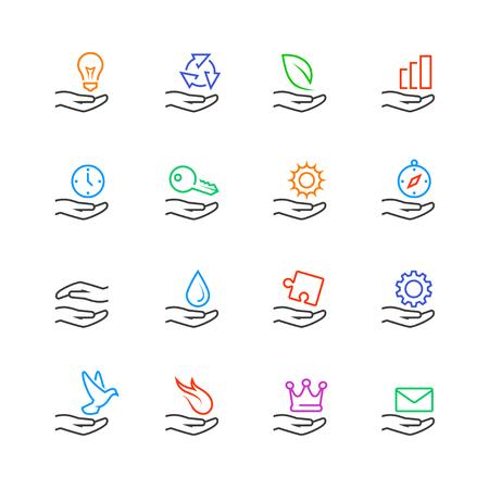 clave sol: Mano y concepto de objeto iconos conjunto de vectores en el estilo de línea