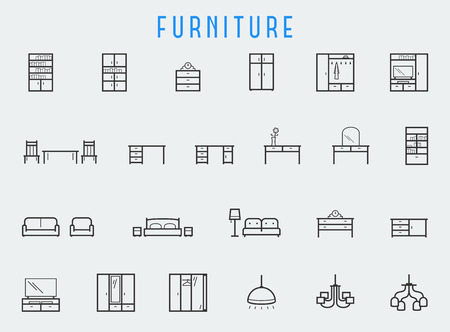 Furniture icon set in line style  イラスト・ベクター素材