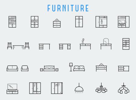 Furniture icon set in line style Vettoriali