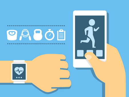 Vector fitness app on the screen of smartphone and tracker on the wrist in flat style