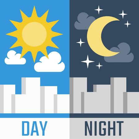 dia soleado: Ilustración vectorial Día y noche en estilo plano