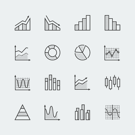 Vector set of diagram and graphs related icons Illustration