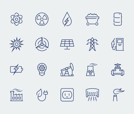 carbone: Energia e l'icona di elettricità set in stile sottile linea Vettoriali