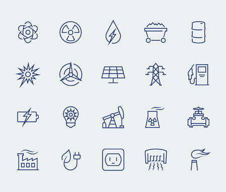 factory line: Energy and electricity icon set in thin line style