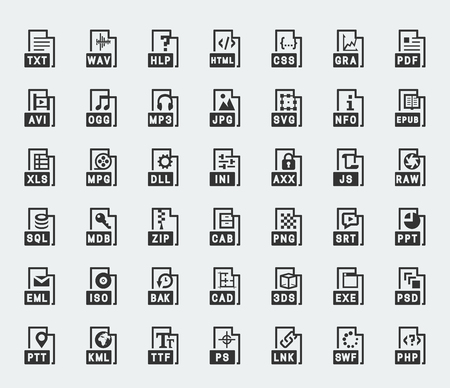 avi: File format vector icons Illustration