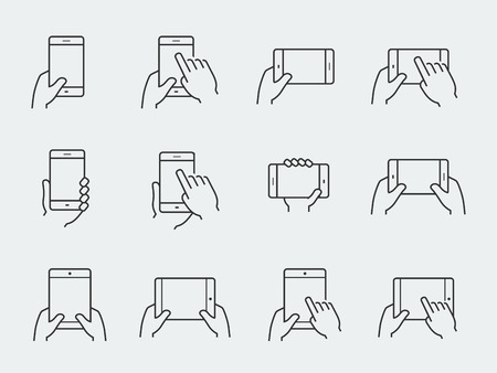 touch screen phone: Icon set of hands holding smartphone and tablet