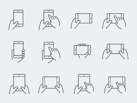 dedo: Jogo do ícone das mãos segurando smartphone e tablet