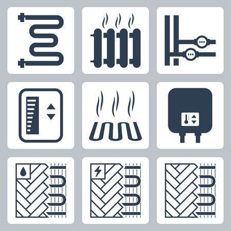 heater: Vector icon set of heating and plumbing