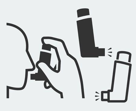 asthma: Ilustración vectorial de un inhalador de explotación de la mano a la cabeza y aislada inhalador