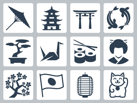 asia women: Japan related vector icon set