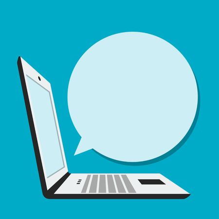 laptop: Laptop with blank bubble speech in flat style