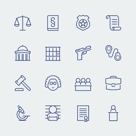 Law and justice related vector icon set Ilustracja