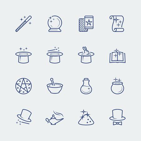 lampara magica: Vector conjunto de iconos de magia relacionados
