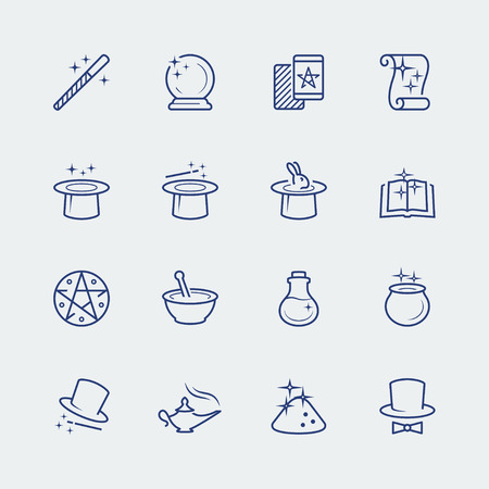 magician hat: Vector set of magic related icons Illustration