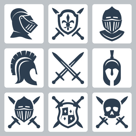 cascos romanos: Medieval armaduras y espadas conjunto de iconos Vectores