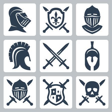 Middeleeuwse harnassen en zwaarden icon set