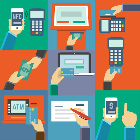 cash money: Vector plana icono conjunto de m�todos de pago, como tarjeta de cr�dito, nfc, aplicaci�n m�vil, cajeros autom�ticos, terminales, sitio web, efectivo y cheque Vectores