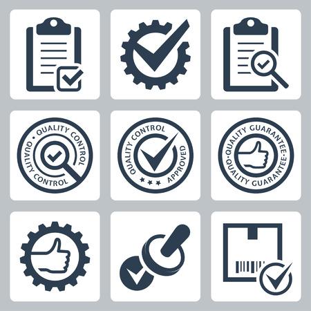 pictogramme: Contrôle de la qualité liée vecteur, icône, ensemble