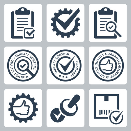 quality check: Quality control related vector icon set
