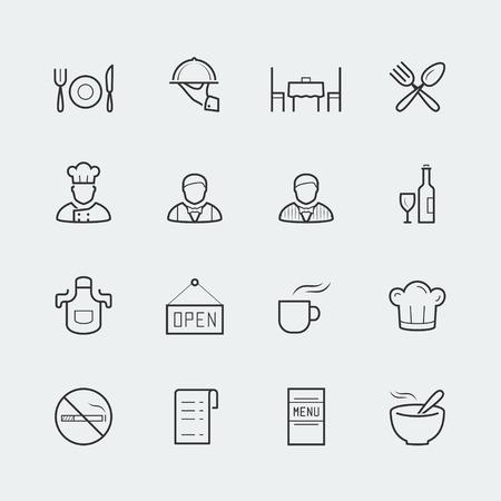 mandil: Iconos restaurante vector en estilo de esquema Vectores