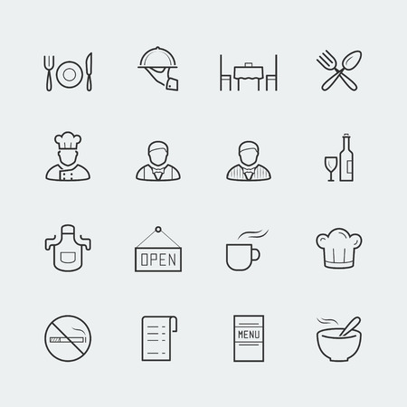 receptionist: Vector restaurant icons in outline style