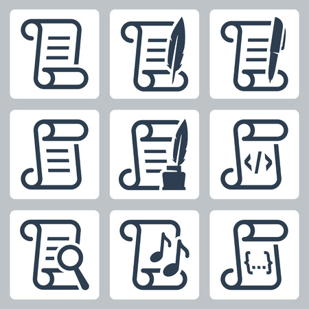 paper scroll: Paper scroll vector icon set