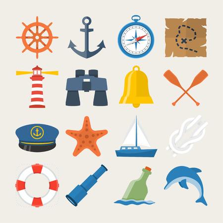 timon de barco: Náutico conjunto de iconos de estilo plana Vectores