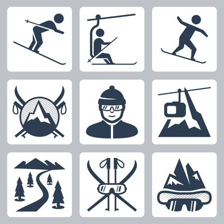 Vector ski and snowboard resort icon set Vector