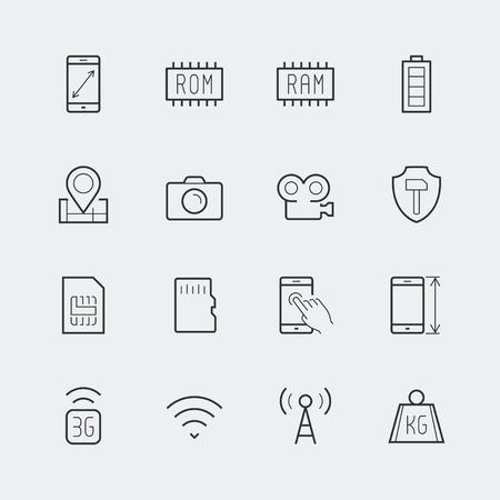 Smartphone paramètres icon set: dimensions de l'écran, la résolution, la capacité de ROM et RAM, batterie, GPS, appareil photo et de la vidéo, la protection, le nombre de cartes SIM et autres Banque d'images - 40290580