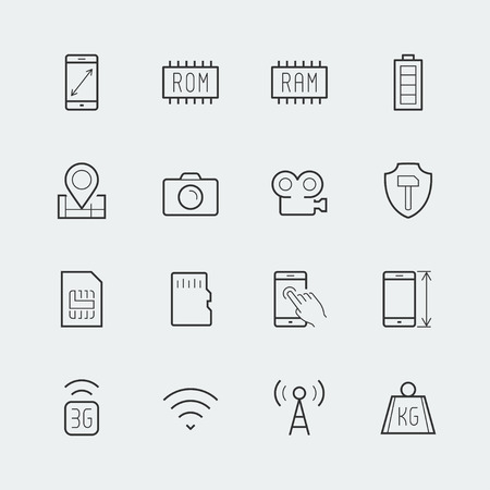 Smartphone parameters icon set: screen dimensions, resolution, ROM and RAM capacity, battery, GPS, camera and video, protection, number of sim cards and other Illustration
