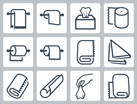 Vector icon set of towels, napkins and paper Çizim