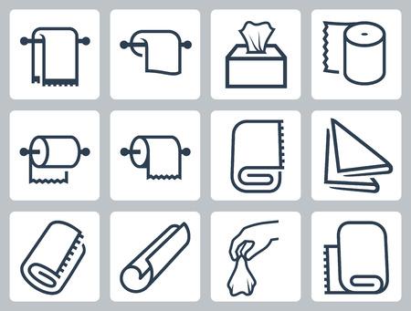 servilleta: Vector icono conjunto de toallas, servilletas y papel Vectores