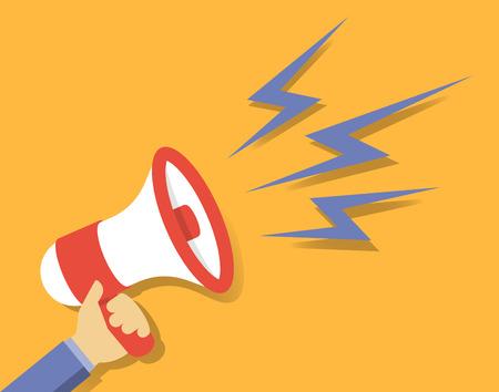 Flat design vector illustration concept of hand holding megaphone for promotion