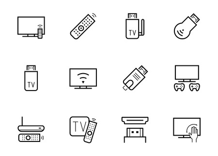 iptv: TV stick and box vector icon set in thin line style