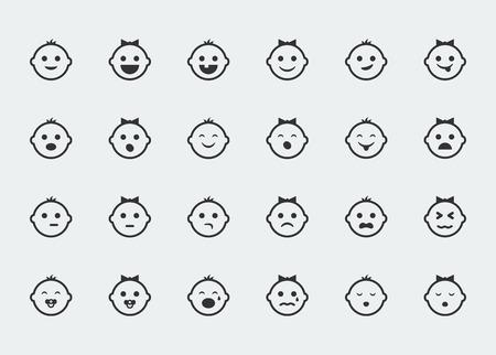 crying boy: Smiley iconos, vector conjunto de variada bebé enfrenta expresiones