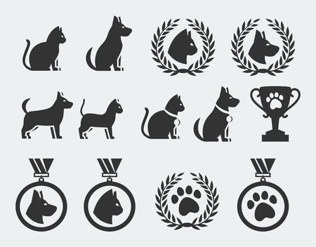 ganador: Gato y perro competencia y premios vector icon set Vectores