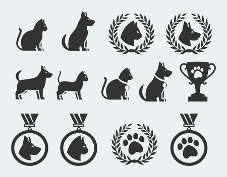 Cat and dog competition and awards vector icon set