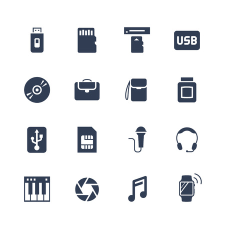 Electronics and gadgets icon set: flash drive, memory card, card reader, usb hdd, cd, laptop bag, camera bag, toner, sim card, microphone, headset, synthesizer, shutter, smart watch Illustration
