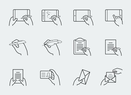 hand holding id card: Thin line icon set of hands holding and interacting with objects