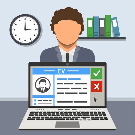 면접 개념 : 교육 과정 노트북의 화면에 이력서와 그 뒤에 후보 일러스트