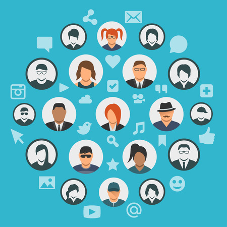 seguidores: Conceptual illustration of social media cloud with people avatars and social network icons Vectores