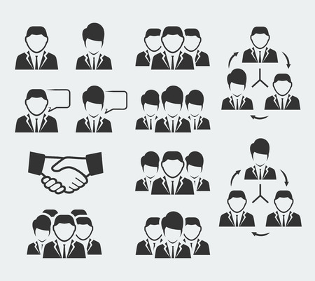 business icon: Office and business people icon set