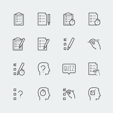 portapapeles: Cuestionario de iconos de vectores relacionados ubicado en estilo de esquema Vectores