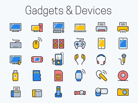 data storage device: Electronics, gadgets and devices icon set