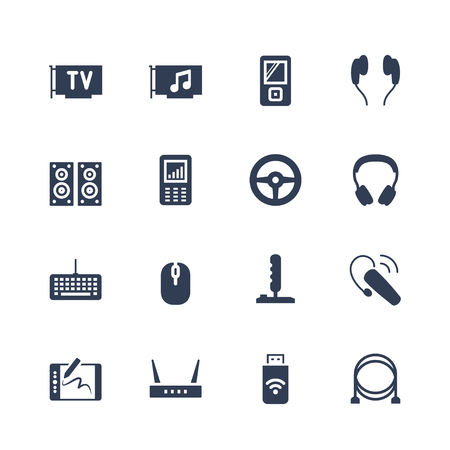 Electronics and gadgets icon set: TV tuner, audio card, mp4 player, headphones, audio system, recorder, game wheel, keyboard, mouse, joystick, headset, graphics tablet, router, usb modem, cables