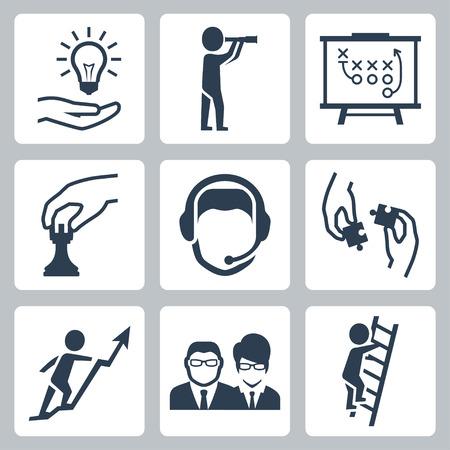 아이디어, 비전, 전술, 전략, 고객 지원, 팀워크, 시작 성장, 사업 사람들과 경력 사다리 : 성공 비즈니스 은유의 벡터 개념 아이콘을 설정
