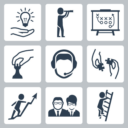 Vector conceptual icon set of success business metaphors: idea, vision,  tactics, strategy, customer support, teamwork, startup growth, business people and career ladder